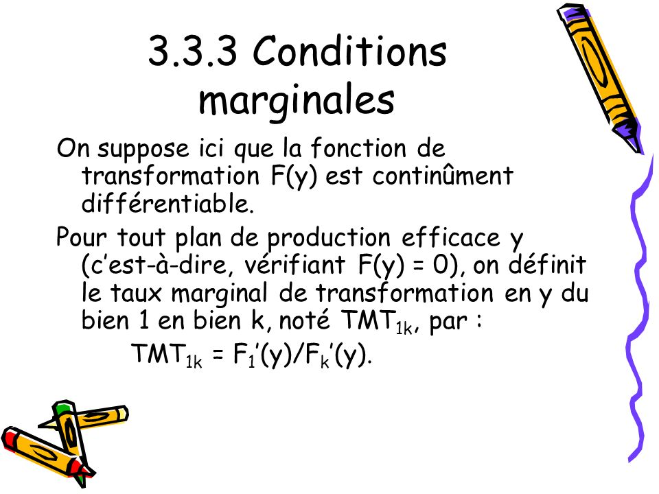 3.3.3 Conditions marginales