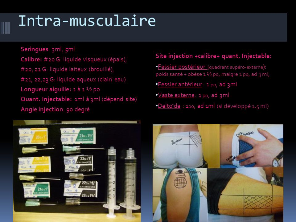 Intra-musculaire Seringues: 3ml, 5ml