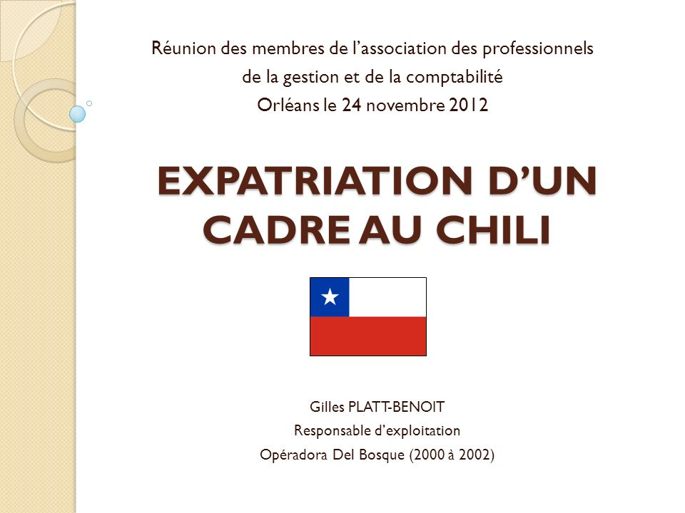EXPATRIATION D'UN CADRE AU CHILI