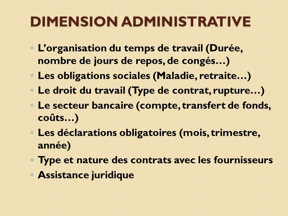 Dimension administrative