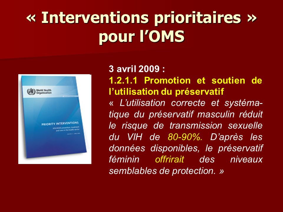 « Interventions prioritaires » pour l'OMS