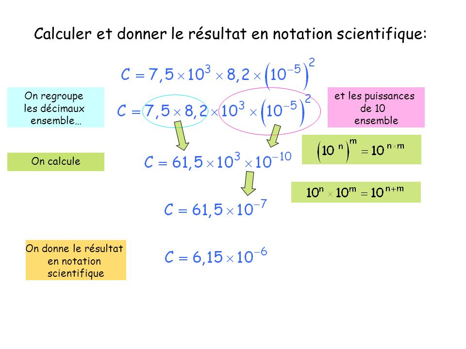 Calculer et donner le résultat en notation scientifique: