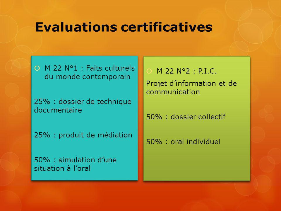 Evaluations certificatives