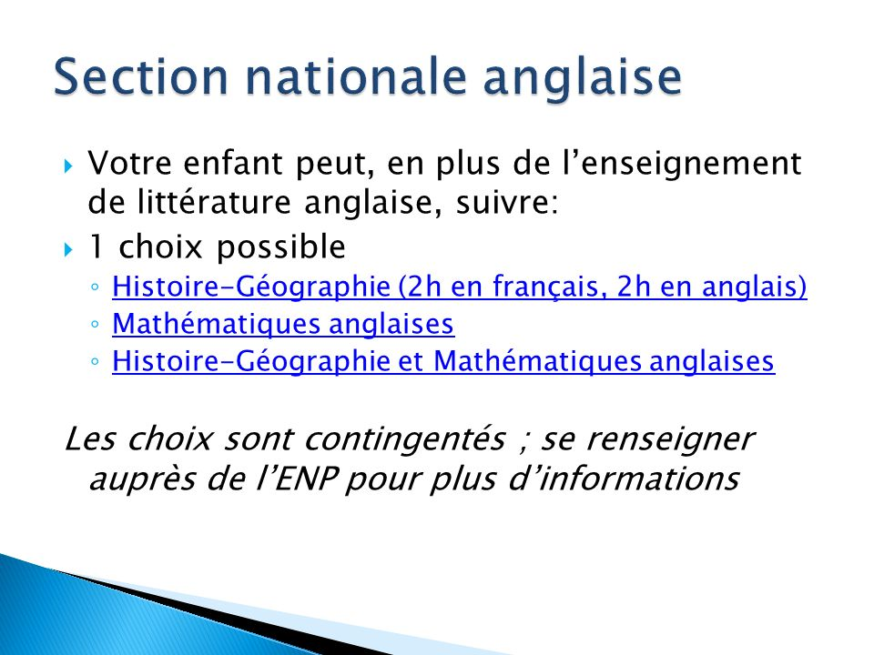 Section nationale anglaise