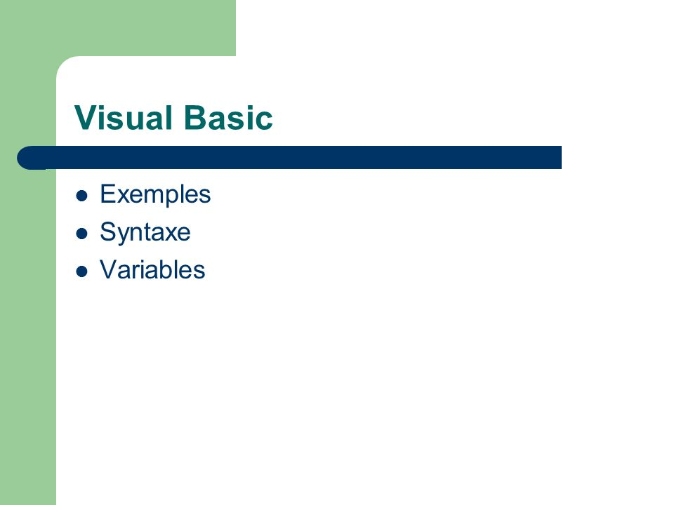 Visual Basic Exemples Syntaxe Variables