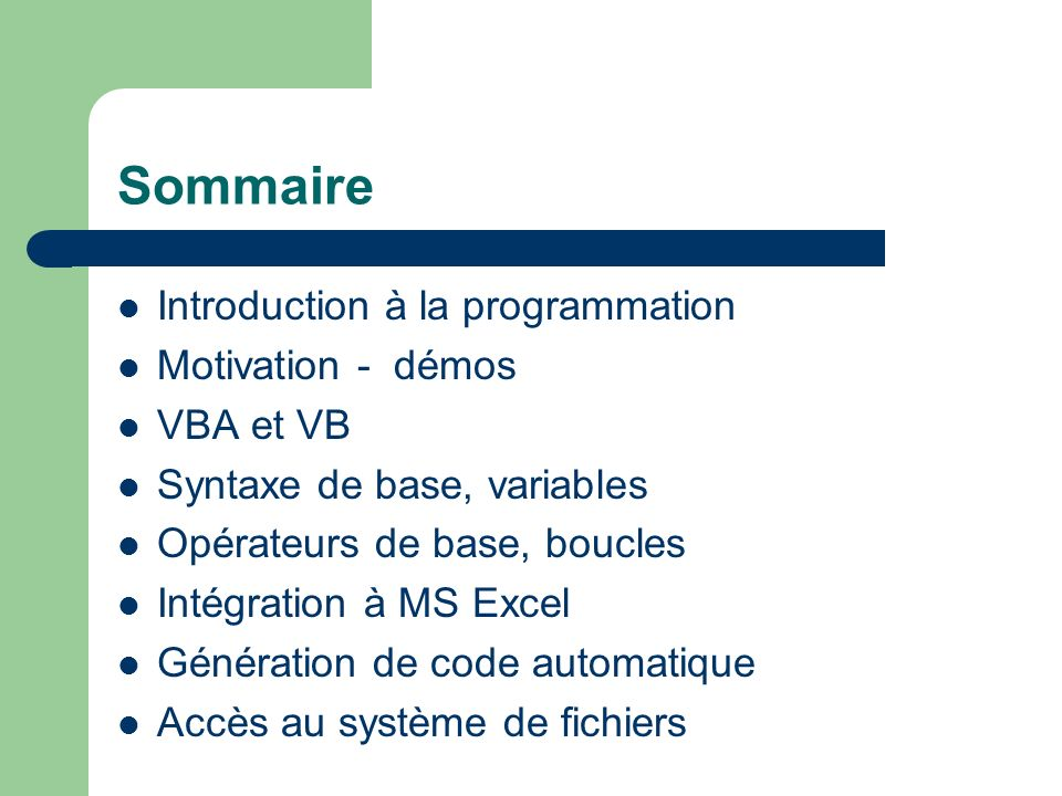 Sommaire Introduction à la programmation Motivation - démos VBA et VB