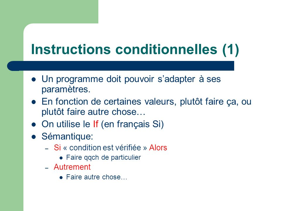 Instructions conditionnelles (1)