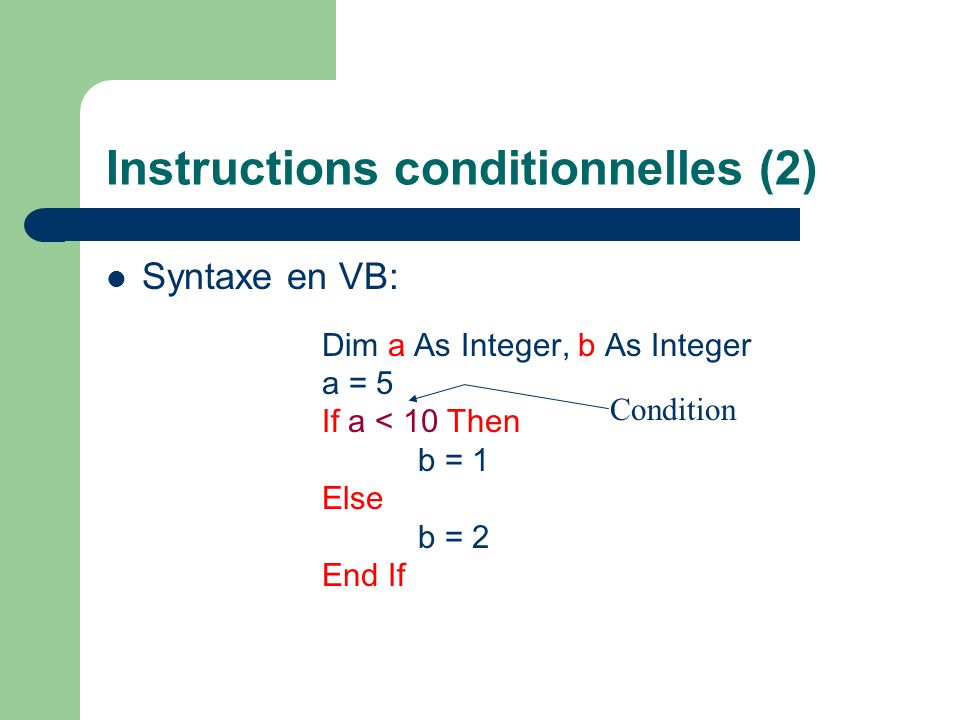 Instructions conditionnelles (2)