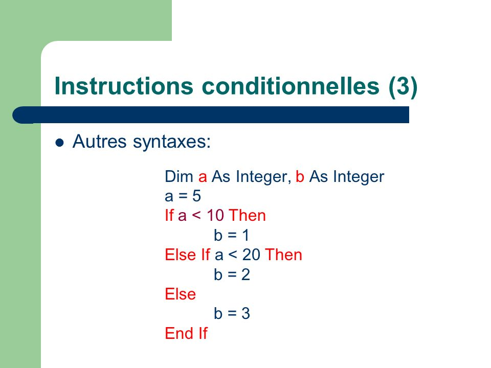 Instructions conditionnelles (3)