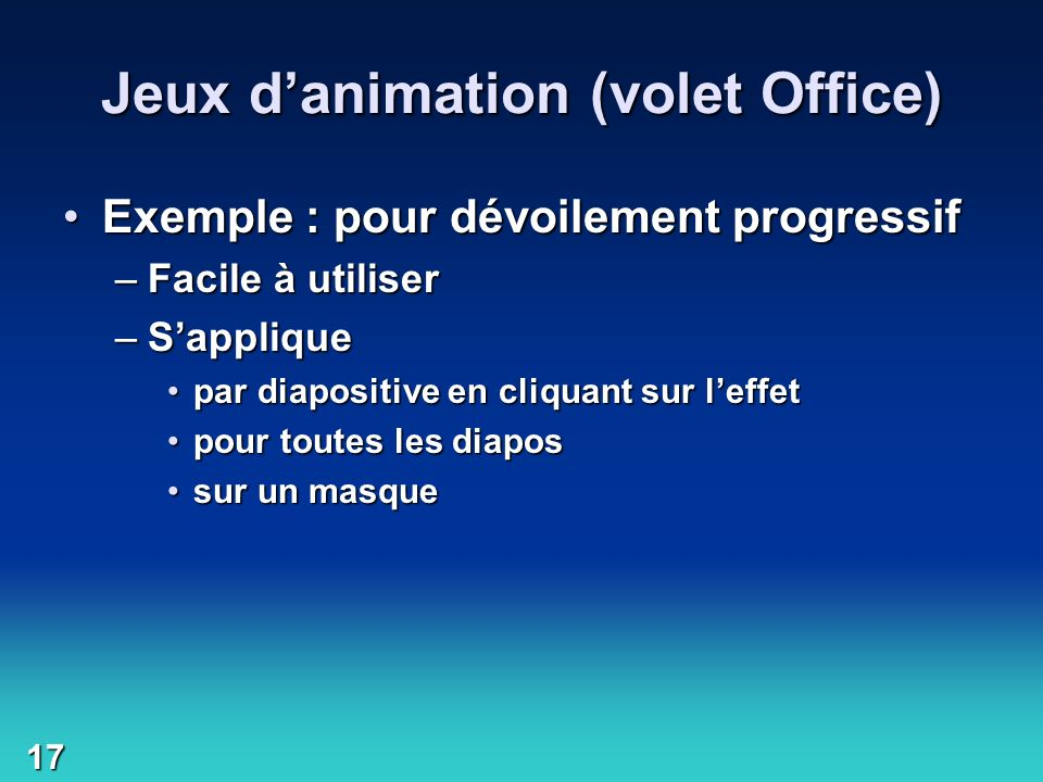 Jeux d'animation (volet Office)