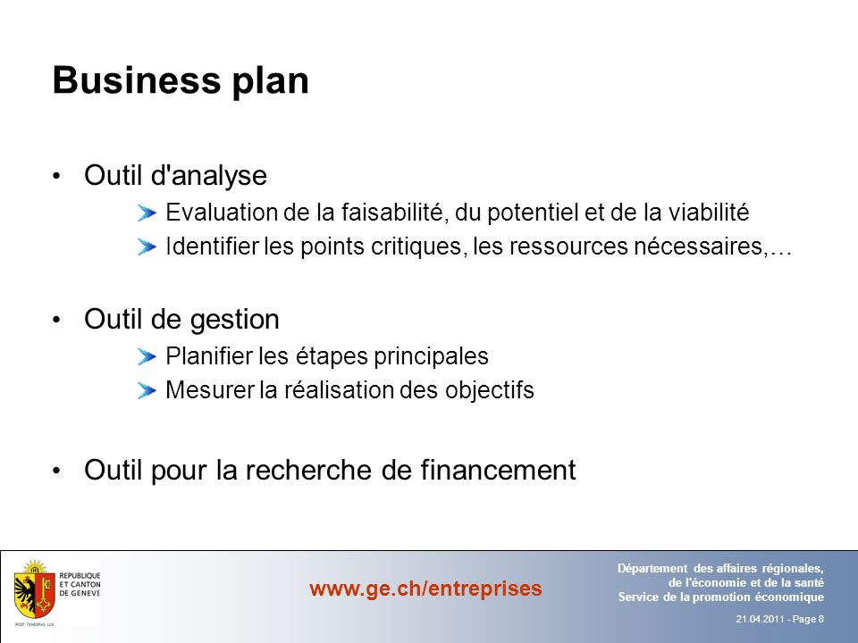 Business plan Outil d analyse Outil de gestion