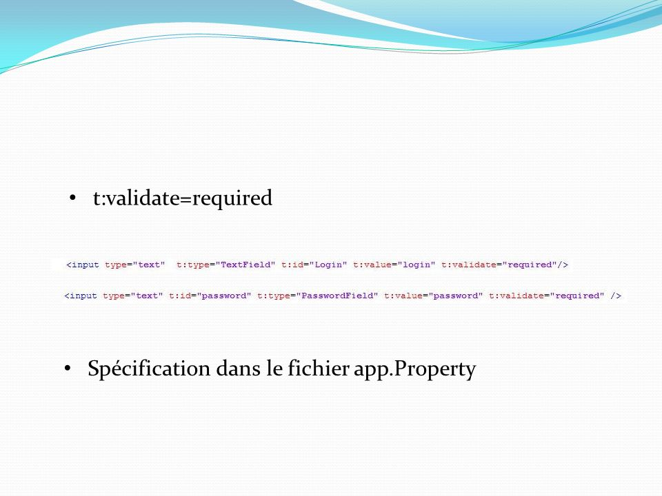 t:validate=required Spécification dans le fichier app.Property