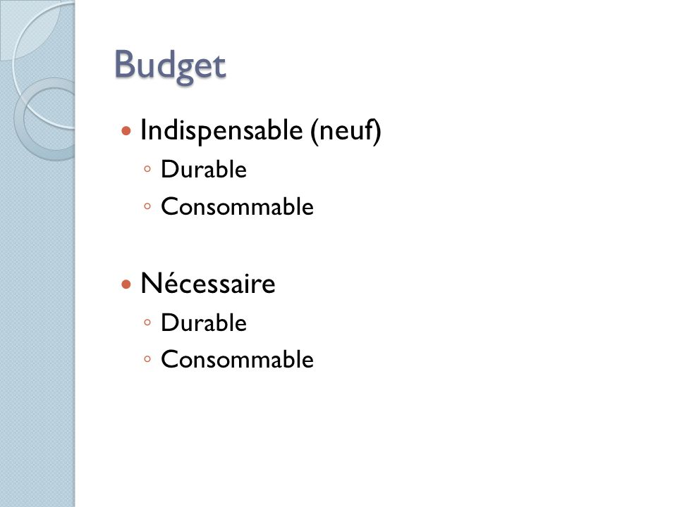 Budget Indispensable (neuf) Durable Consommable Nécessaire