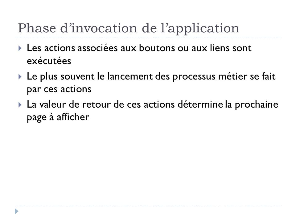 Phase d'invocation de l'application