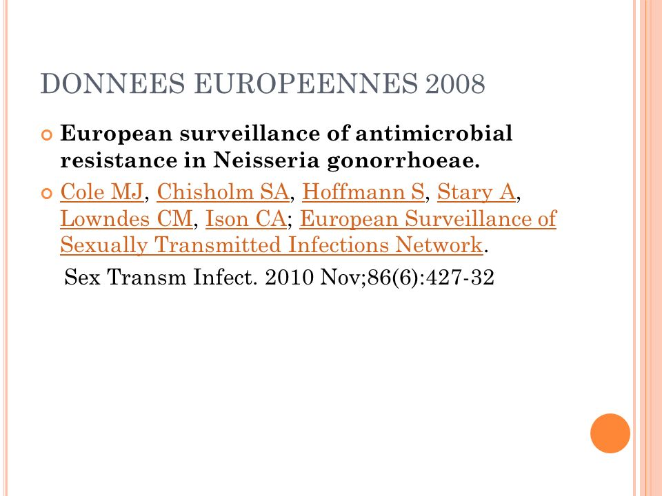DONNEES EUROPEENNES 2008 European surveillance of antimicrobial resistance in Neisseria gonorrhoeae.