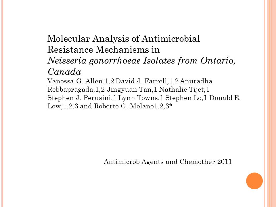 Molecular Analysis of Antimicrobial Resistance Mechanisms in