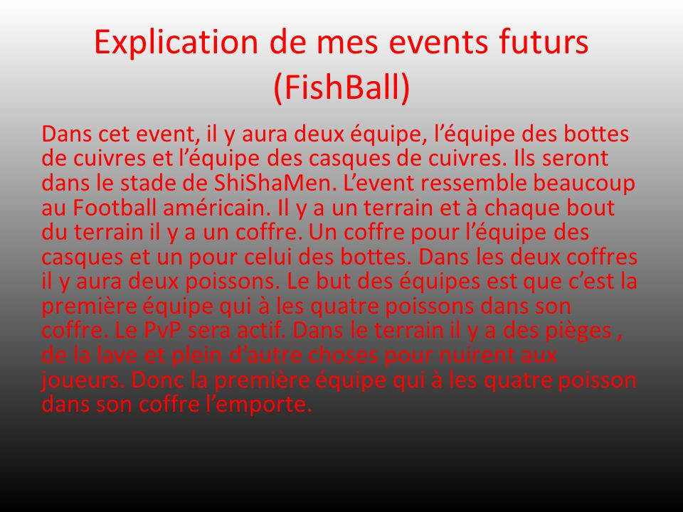 Explication de mes events futurs (FishBall)