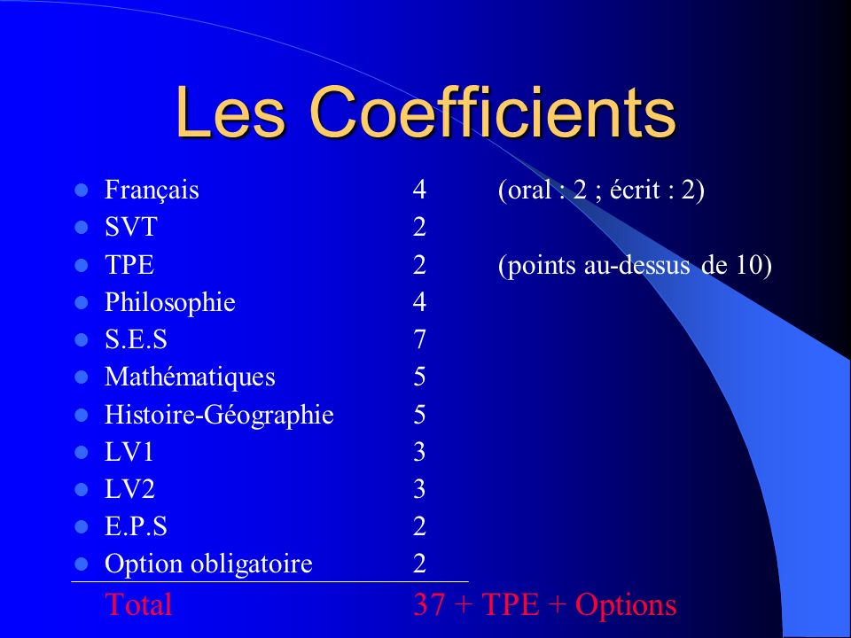 Les Coefficients Total 37 + TPE + Options
