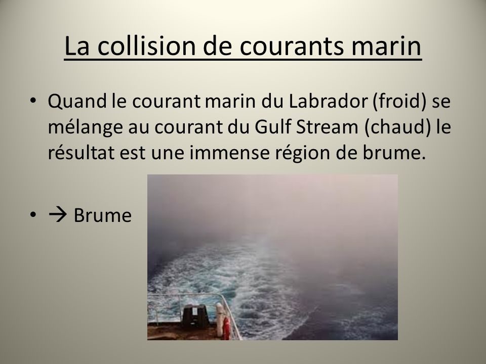 La collision de courants marin