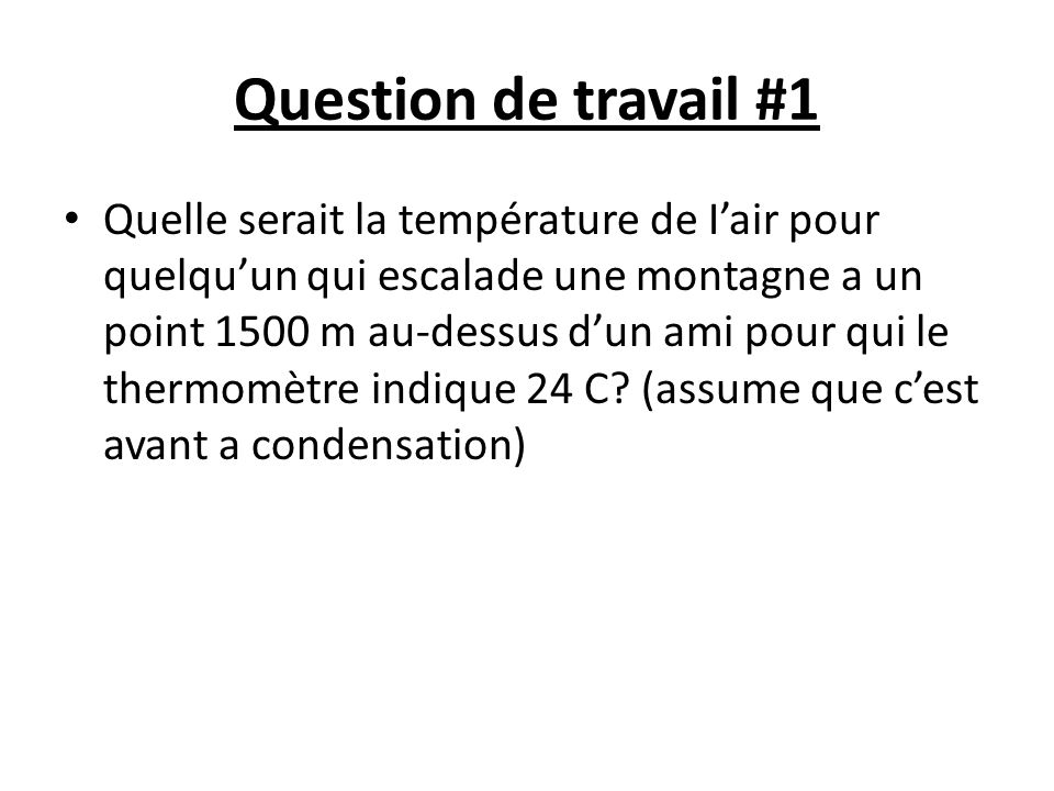 Question de travail #1