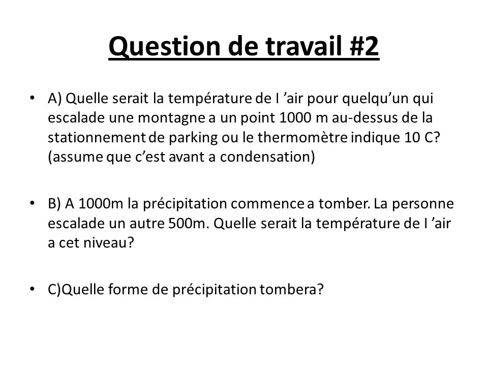 Question de travail #2