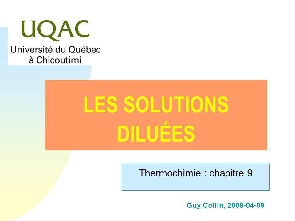 Thermochimie : chapitre 9