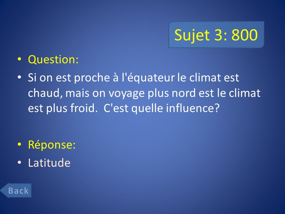 Sujet 3: 800 Question: