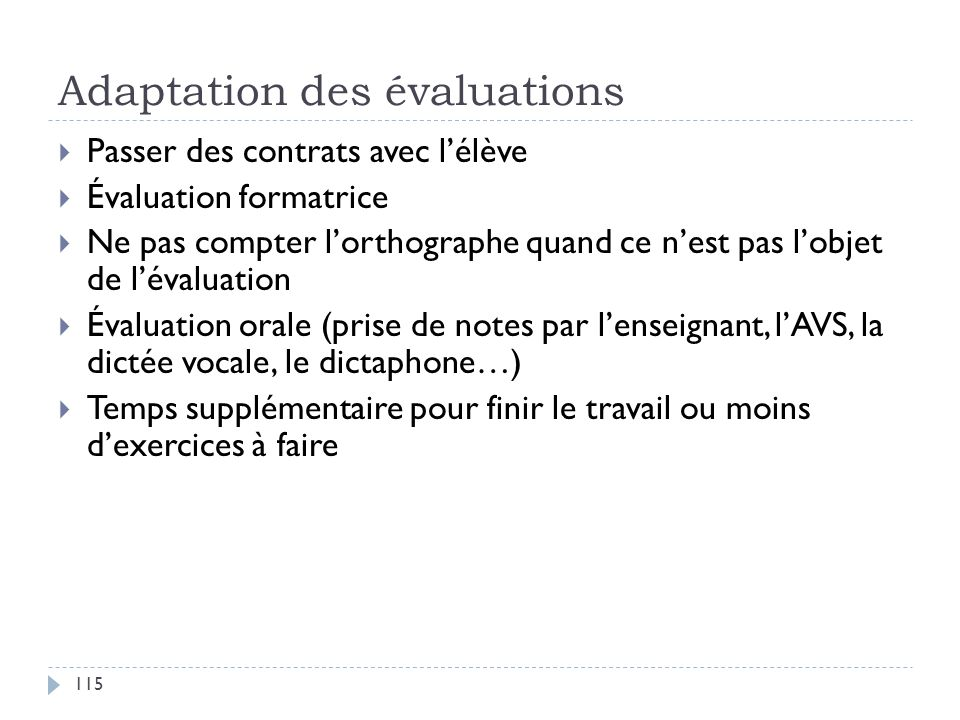Adaptation des évaluations