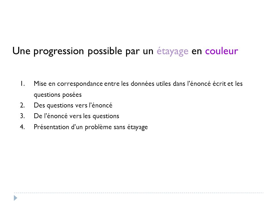 Une progression possible par un étayage en couleur