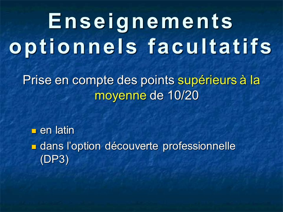 Enseignements optionnels facultatifs