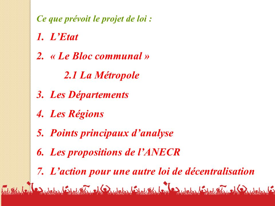 Points principaux d'analyse Les propositions de l'ANECR