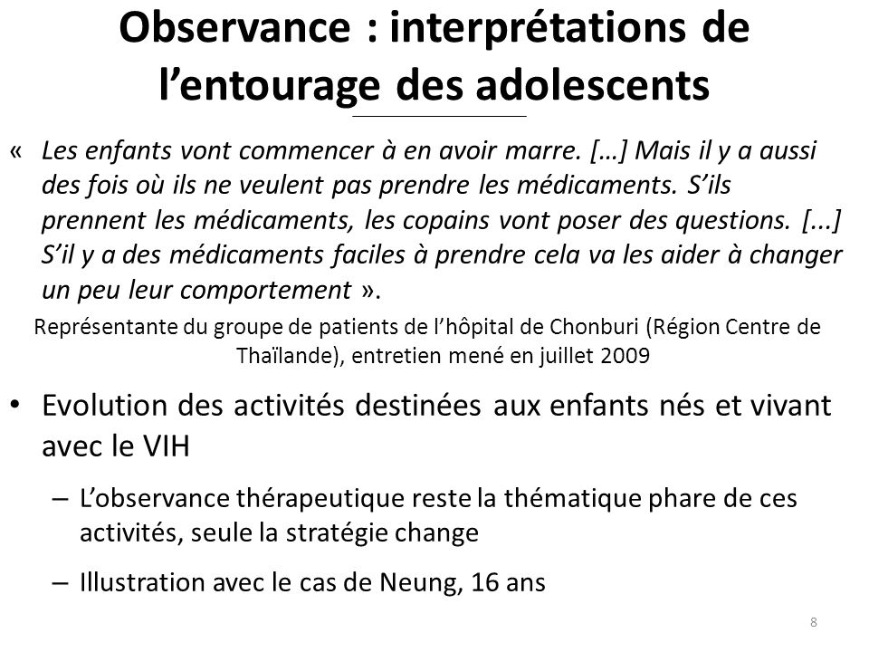 Observance : interprétations de l'entourage des adolescents