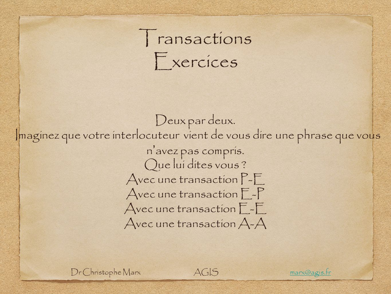 Transactions Exercices