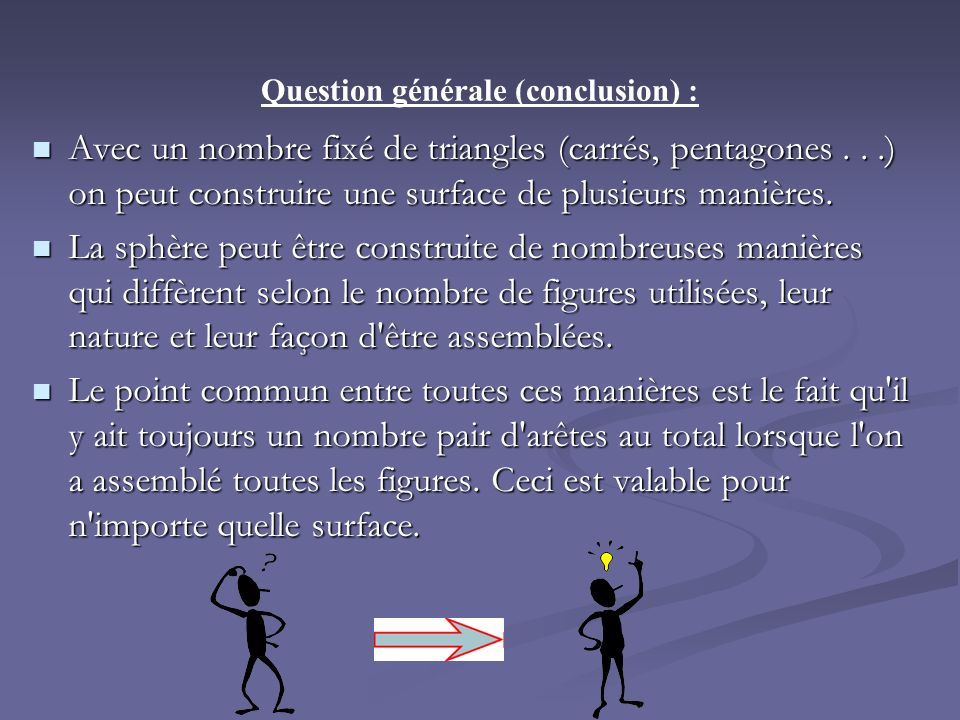 Question générale (conclusion) :