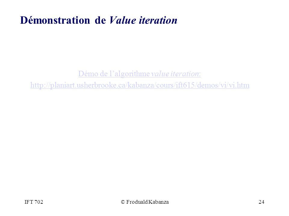 Démonstration de Value iteration