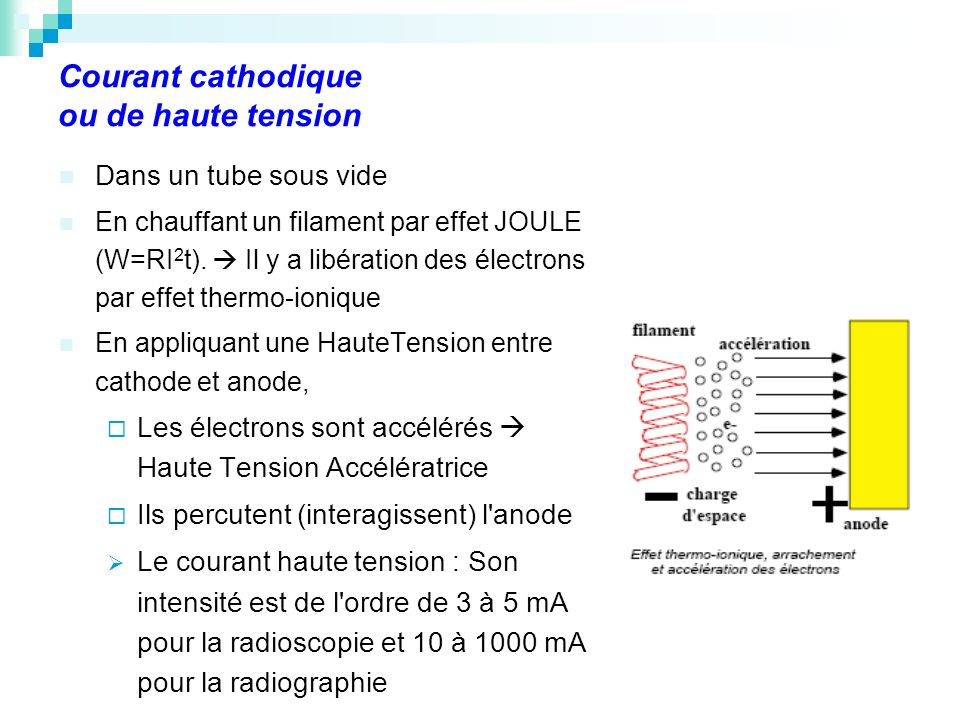 Courant cathodique ou de haute tension