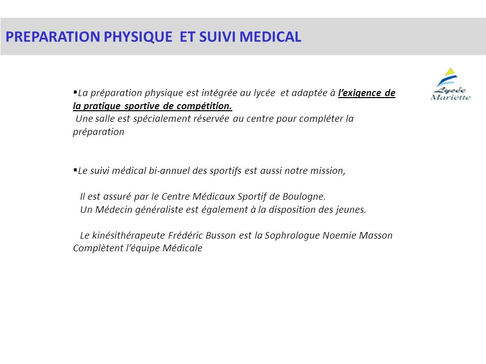 PREPARATION PHYSIQUE ET SUIVI MEDICAL