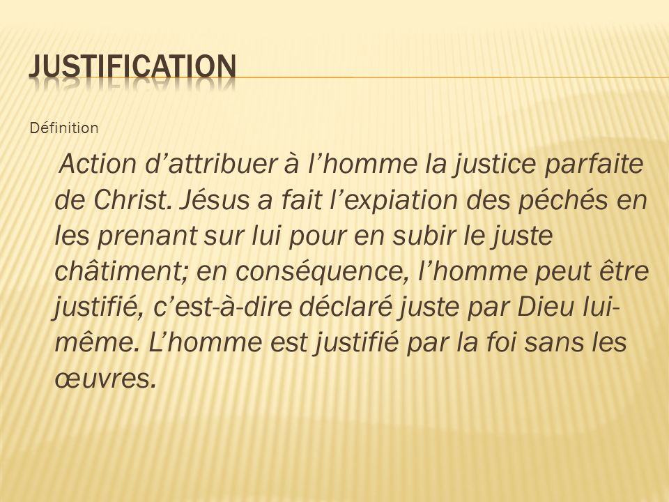 Justification Définition.