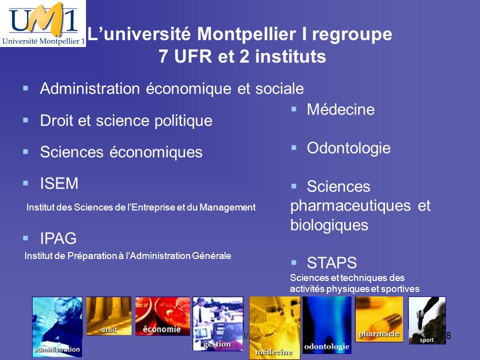 L'université Montpellier I regroupe 7 UFR et 2 instituts