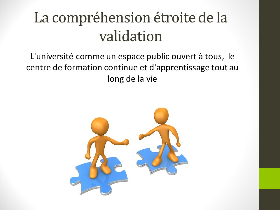 La compréhension étroite de la validation