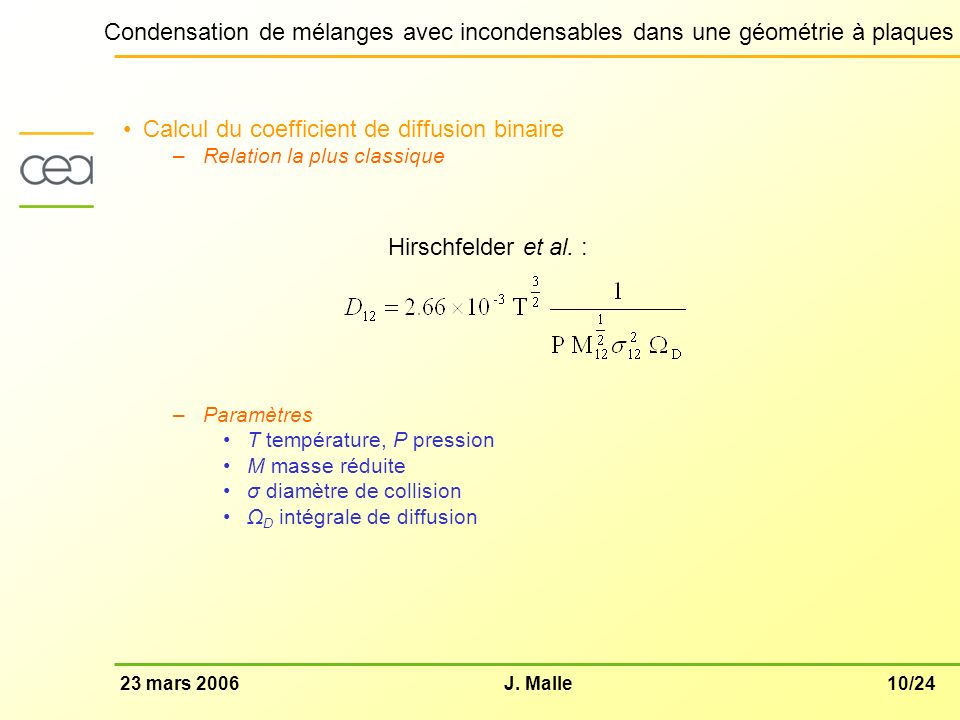 Calcul du coefficient de diffusion binaire
