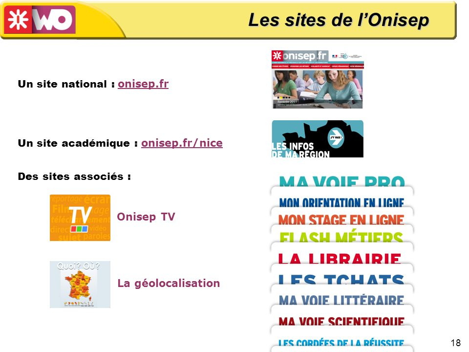 Les sites de l'Onisep Un site national : onisep.fr