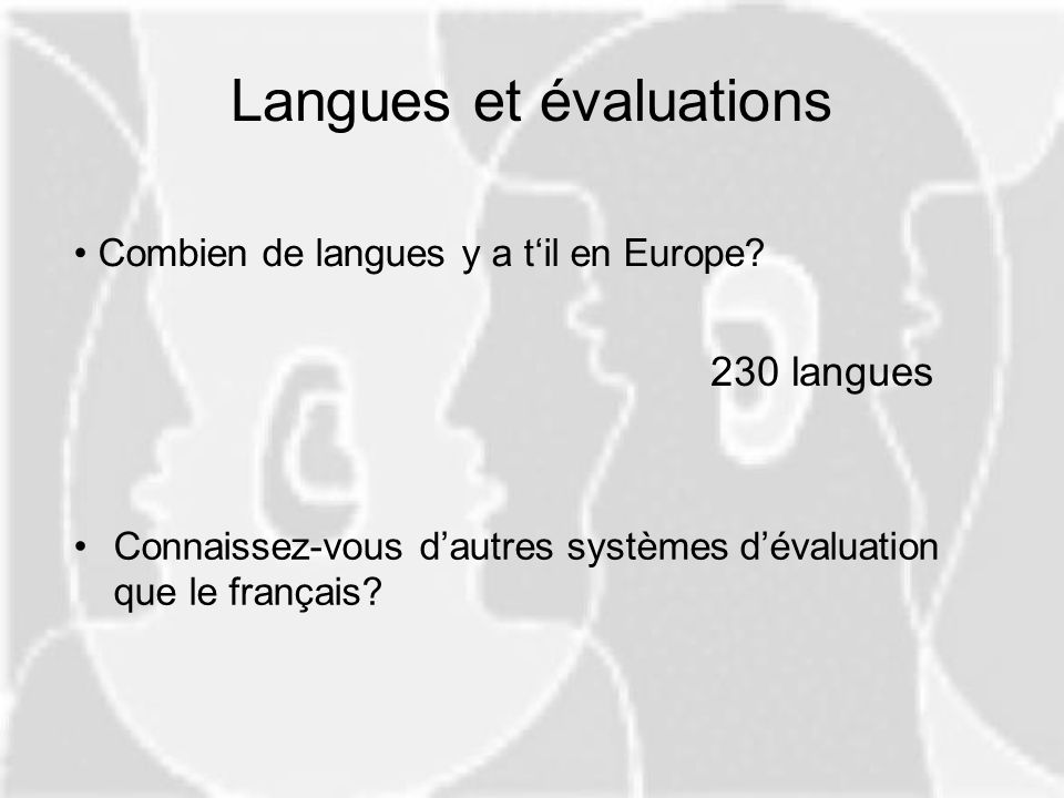 Langues et évaluations