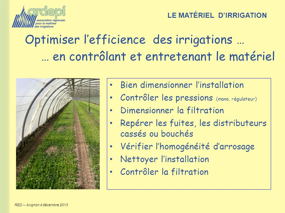 Optimiser l'efficience des irrigations …