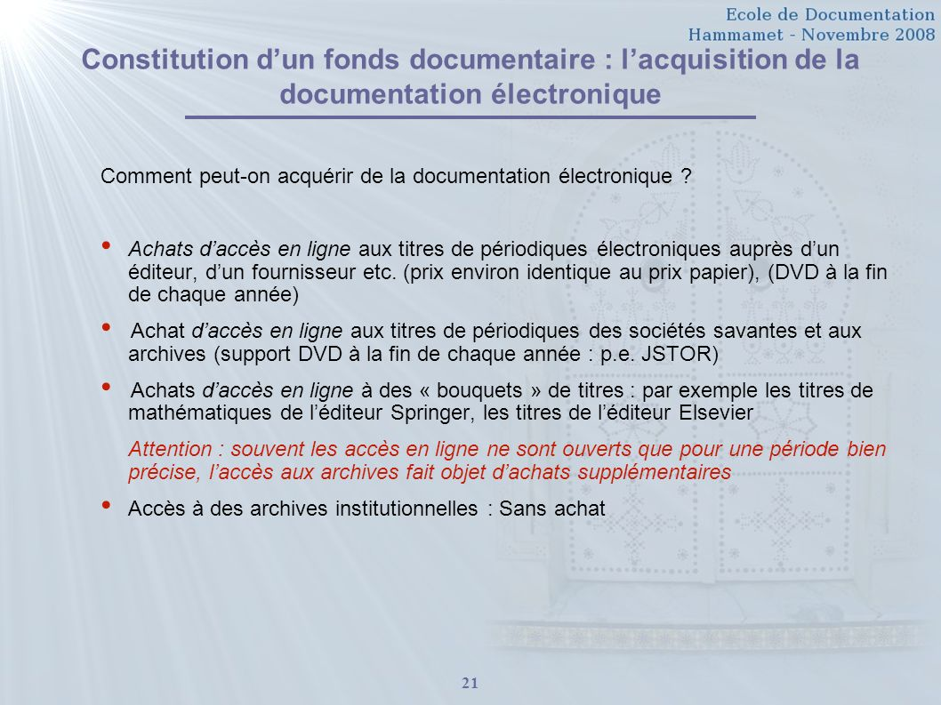 Constitution d'un fonds documentaire : l'acquisition de la documentation électronique