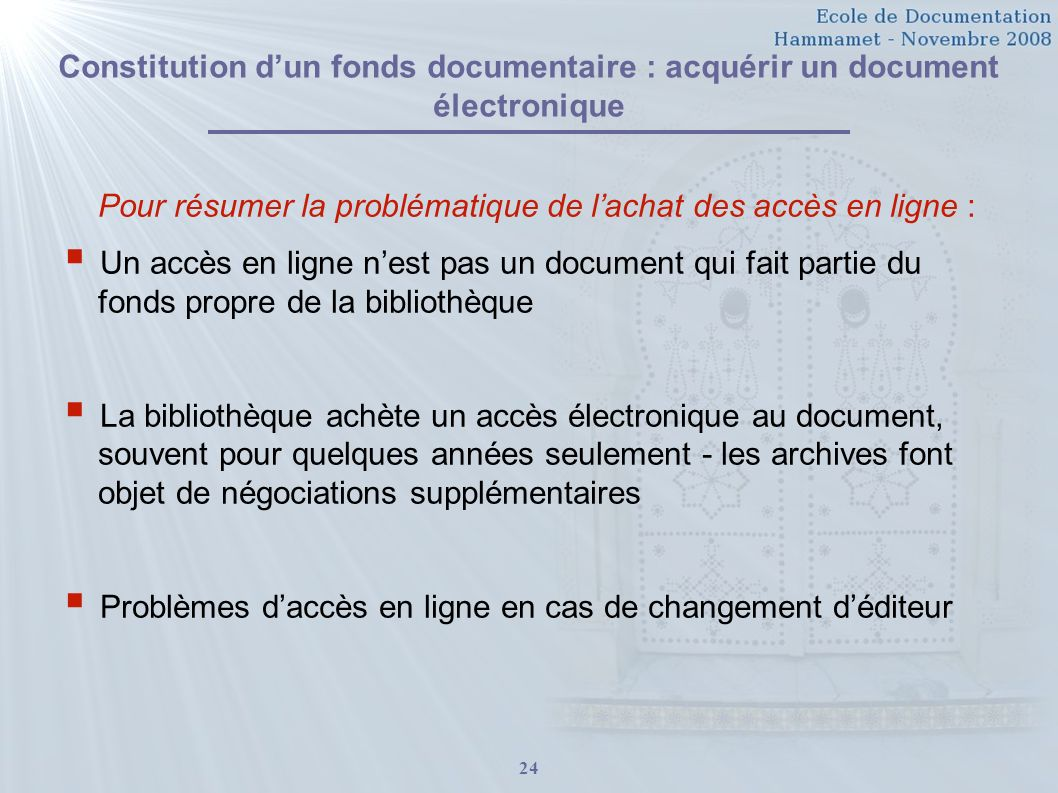 Constitution d'un fonds documentaire : acquérir un document électronique