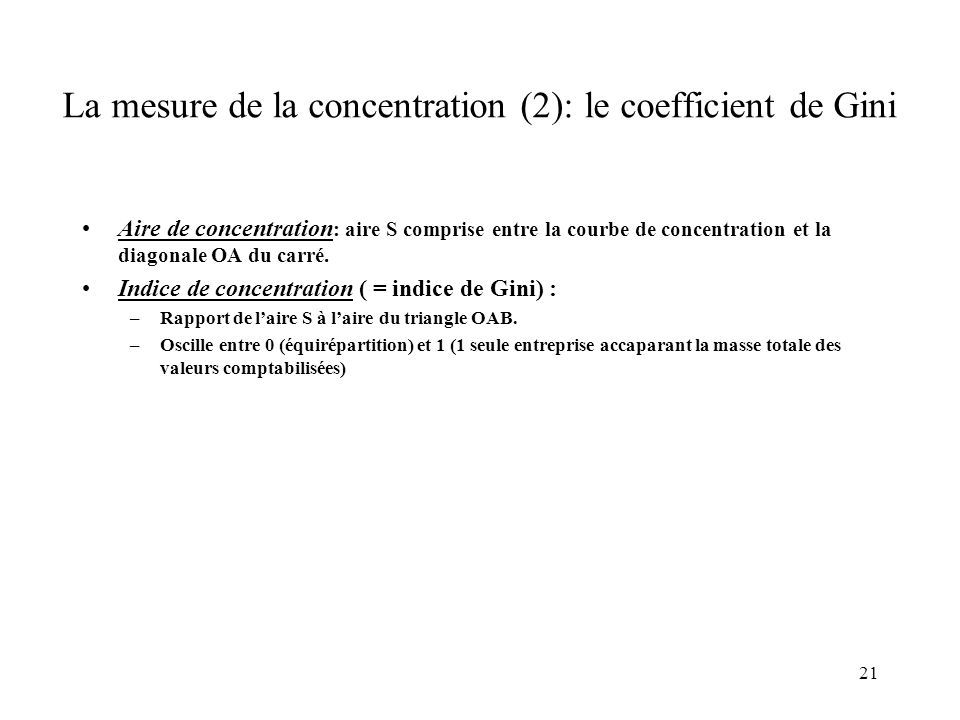 La mesure de la concentration (2): le coefficient de Gini