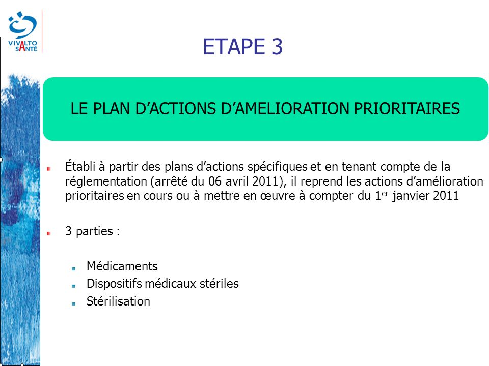 LE PLAN D'ACTIONS D'AMELIORATION PRIORITAIRES