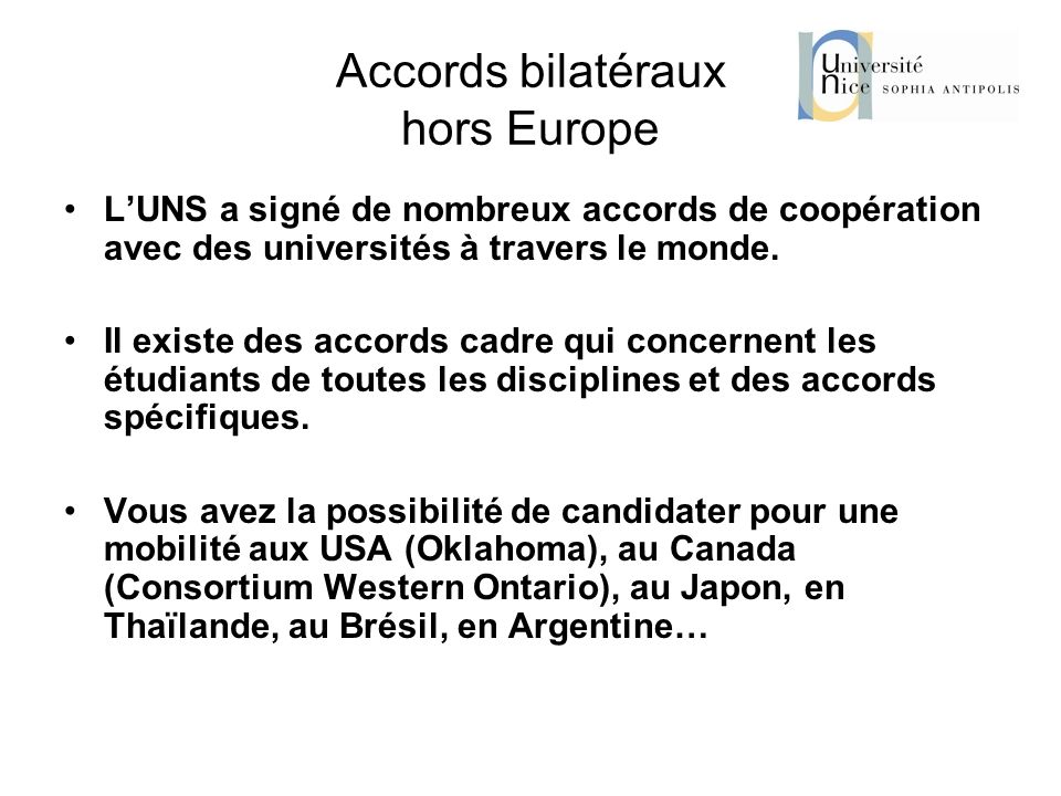 Accords bilatéraux hors Europe