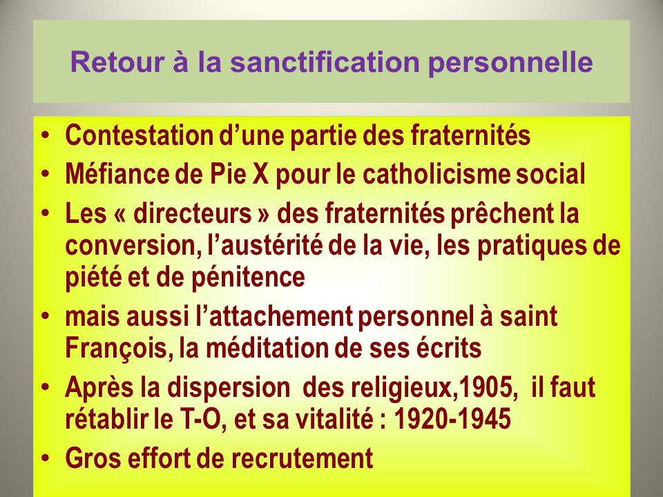 Retour à la sanctification personnelle